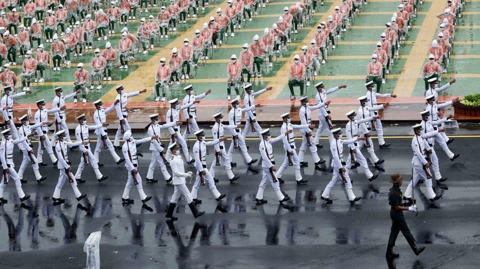 Armed forces personnel and NCC cadets during the full dress rehearsal for the 74th Independence Day celebrations at Red Fort in New Delhi, on August 13. Although the coronavirus (Covid-19) disease has been a dampener for most events and occasions this year, the spirits of the participating personnel in the full dress rehearsal events across the country including the iconic Red Fort soared high and in full enthusiasm for the event that is to take place on August 15.  (DPR MOD / HT Photo)