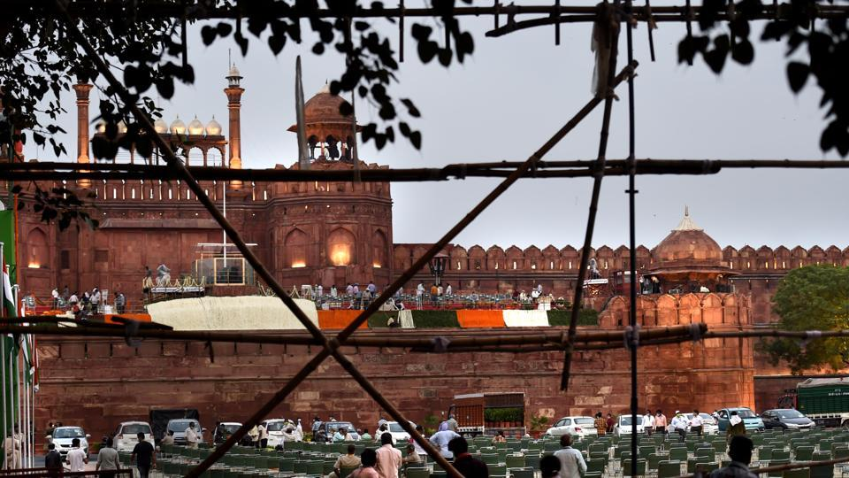 Preparations underway for the 74th Independence Day celebrations, at Red Fort, in Delhi.