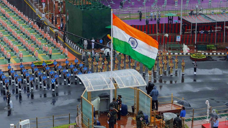 Tri-service contingents are seen during the full dress rehearsals for the 74th Independence Day celebrations at Red Fort in Delhi on Thursday. Prime Minister Narendra Modi on Saturday tweeted his wishes to the citizens of India on the 74th Independence Day.