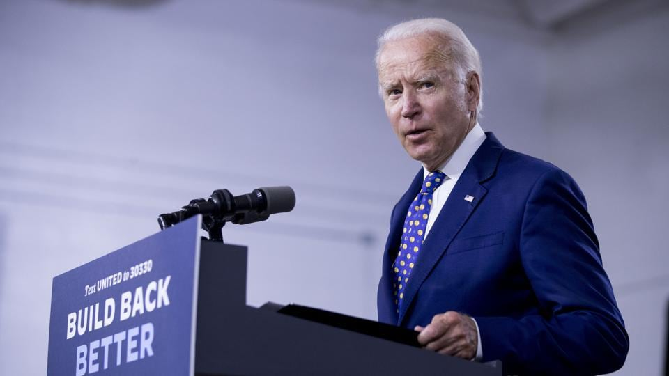 Democratic presidential candidate former Vice President Joe Biden speaks at a campaign event at the William