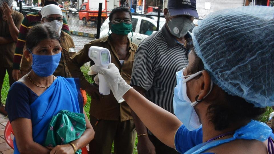 Rapid antigen Covid-19 testing camp for the resident and TMC workers at Manpada Bridge GB road in Thane, Mumbai.