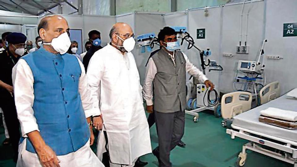 Union home minister Amit Shah and defence minister Rajnath Singh during a visit to a Delhi facility in July-end.