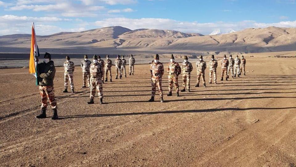 ITBP soldiers near the Pangong Tso lake in Ladakh onSaturday morning.
