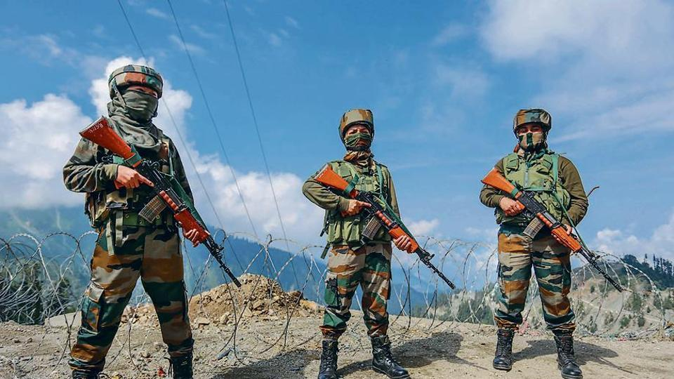 Indian Army's women soldiers patrol at Sadhna Pass in Kupwara district on August 10.