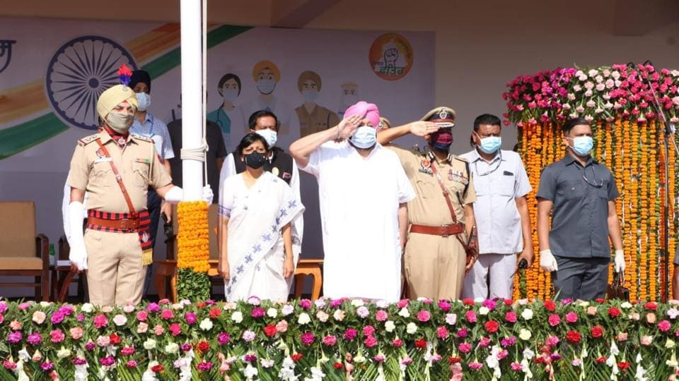 Chief minister Capt Amarinder Singh after unfurling the Tricolour at the state-level Independence Day function in Mohali on Saturday. Chief secretary Vini Mahajan and director general of police Dinkar Gupta were among the few officials present at the low-key event amid the Covid-19 pandemic.
