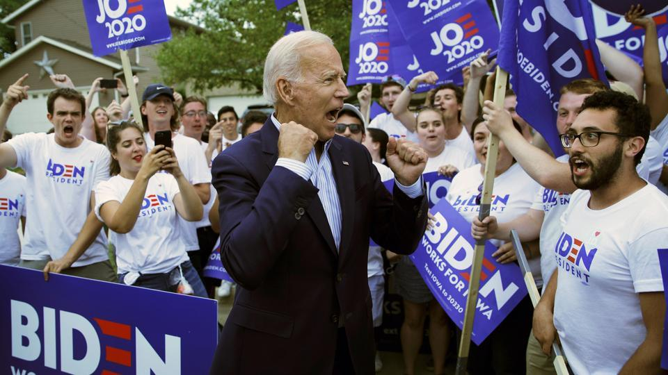 Former Vice President and Democratic presidential candidate Joe Biden meets with supporters.