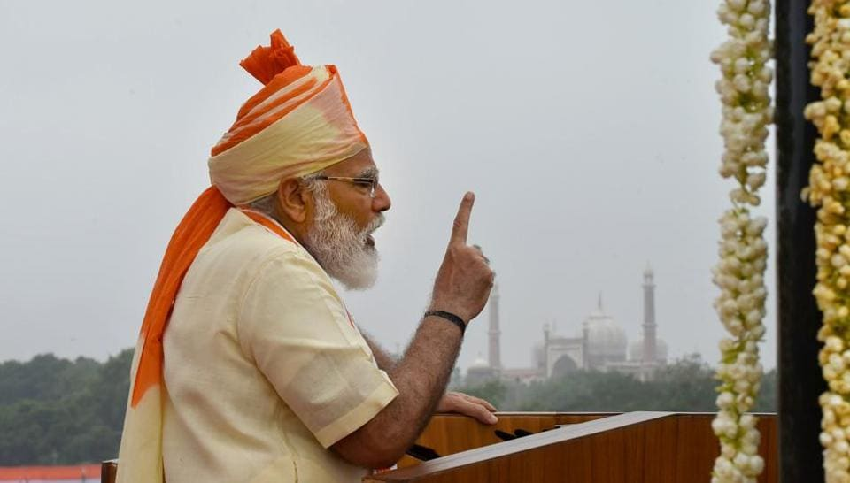 Prime Minister Narendra Modi on Saturday hoisted the national flag and delivered the customary address to the nation from the ramparts of the Red Fort on the 74th Independence Day on August 15, 2020. (PTI)