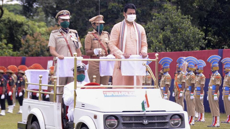 Tripura chief minister Biplab Deb reviews the parade during 74 Independence Day celebrations in Agartala.