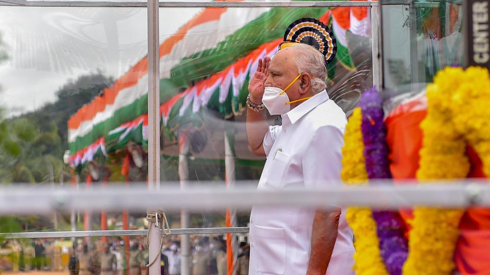 Karnataka Chief Minister BS Yediyurappa salutes after hoisting the Tricolor during the 74th Independence Day celebrations, at Parade ground in Bengaluru.