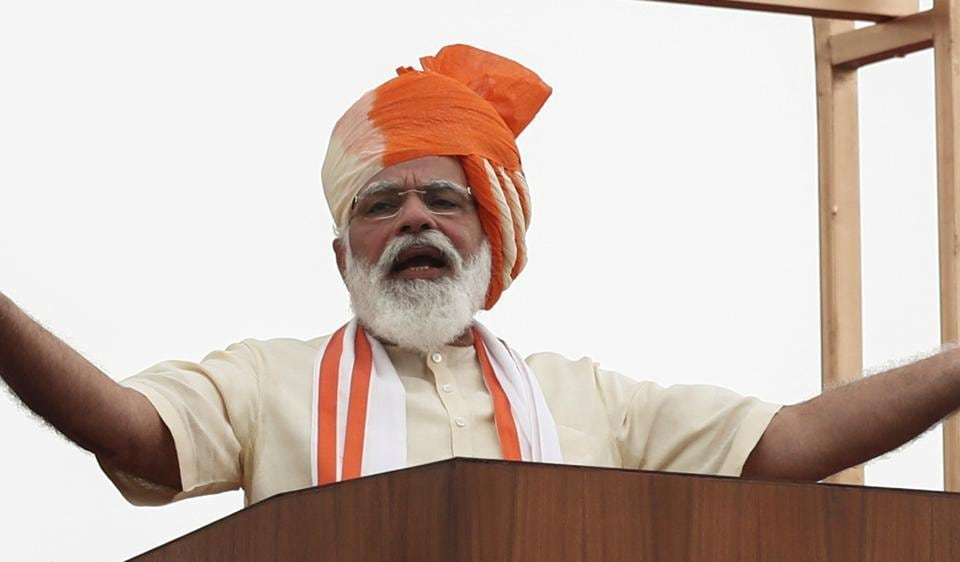 Prime Minister Narendra Modi addresses the nation during Independence Day celebrations at the historic Red Fort in Delhi.