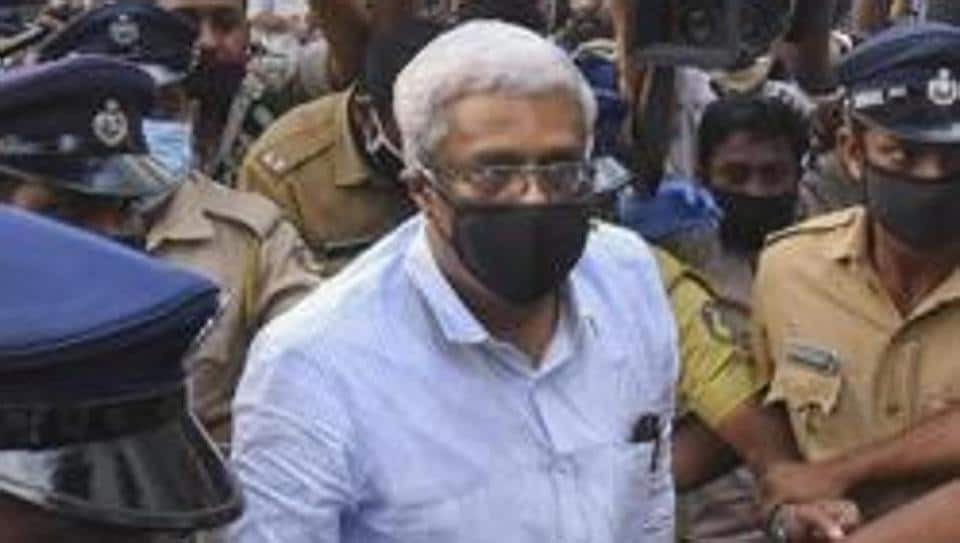 M Sivasankar, former Principal Secretary to Kerala Chief Minister, arrives at National Investigation Agency (NIA) office for interrogation in the high-profile Kerala gold smuggling case, in Kochi, on July 27.