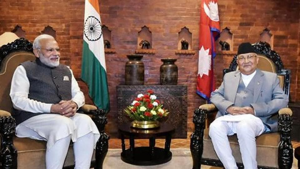 Prime Minister Narendra Modi with his Nepali counterpart KP Sharma Oli during delegation level talks in Kathmandu on Friday.