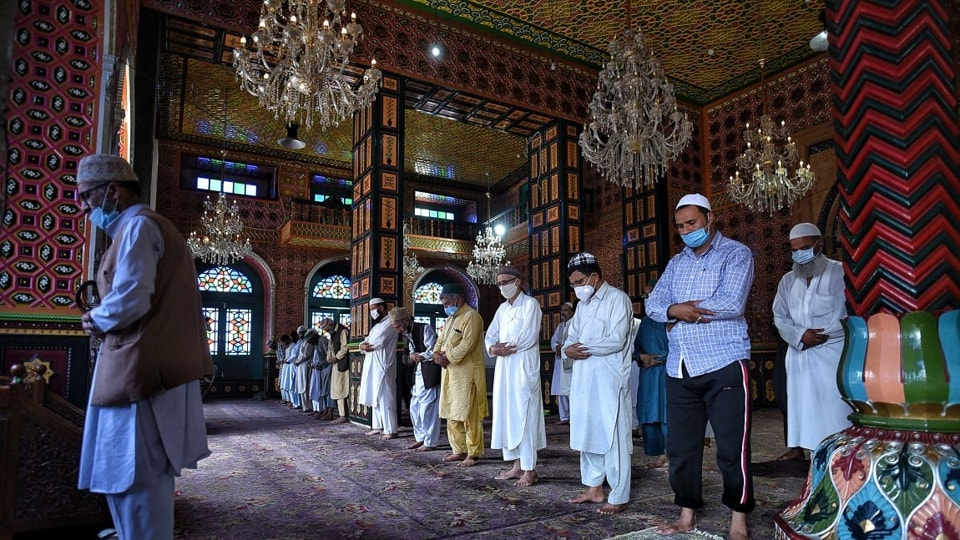 Religious places in Kashmir valley reopened nearly five months after they were closed as a precautionary measure to contain teh spread of Covid-19.