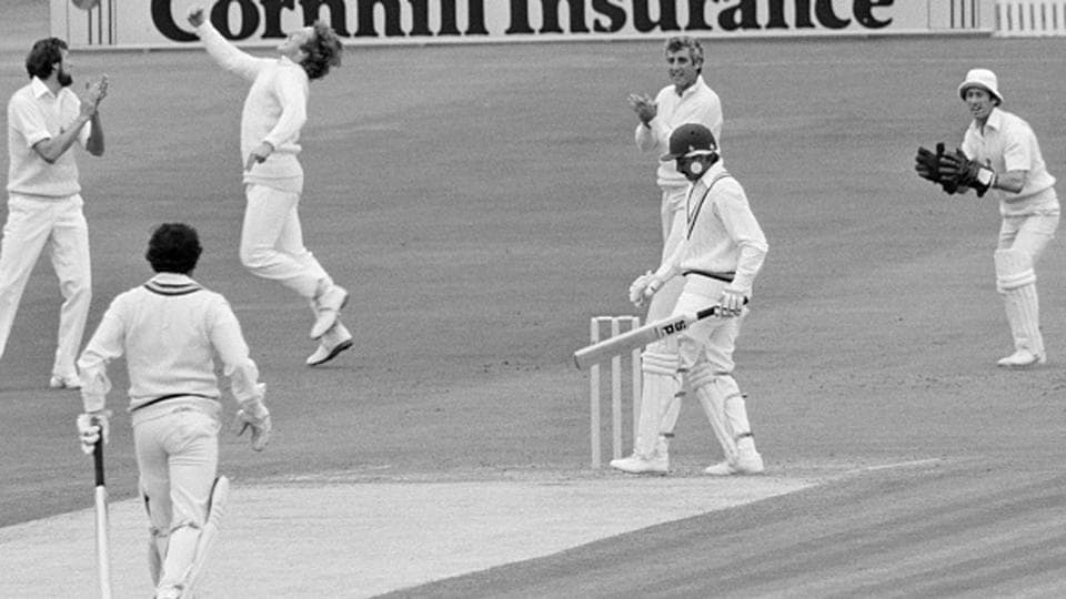 Sunil Gavaskar  (non striker's end) and Chetan Chauhan opening the batting for India against England in a Test match in 1979.