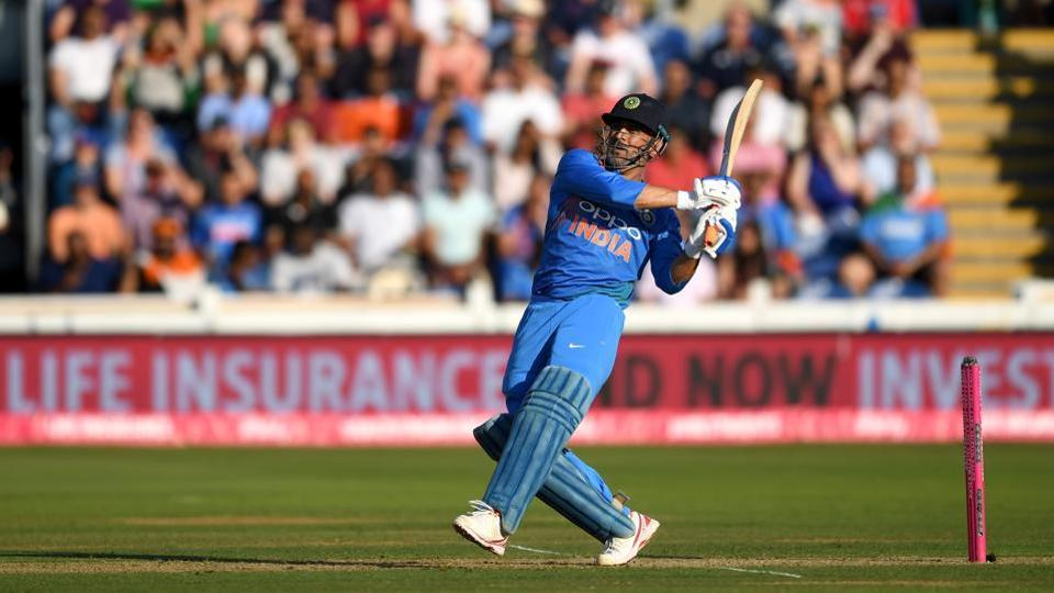 MS Dhoni bats during the 2nd Vitality International T20 match between England and India at SWALEC Stadium.