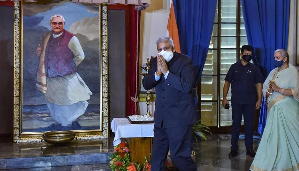 West Bengal Governor Jagdeep Dhankar and his wife Sudesh pay tributes to former PM Atal Bihari Vajpayee on his second death anniversary at Raj Bhawan in  Kolkata on Sunday.