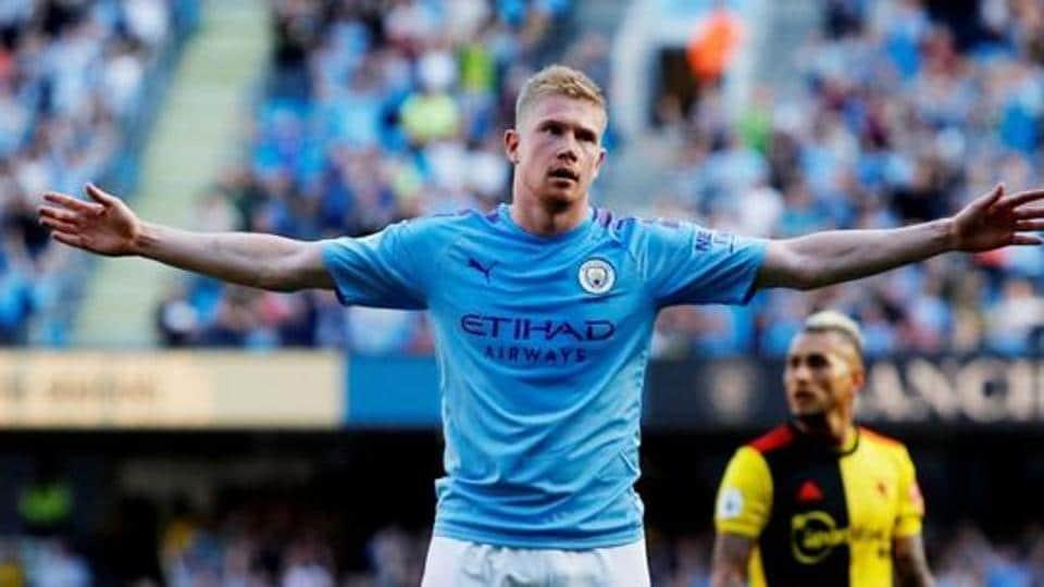 Manchester City's Kevin De Bruyne celebrates scoring their eighth goal.