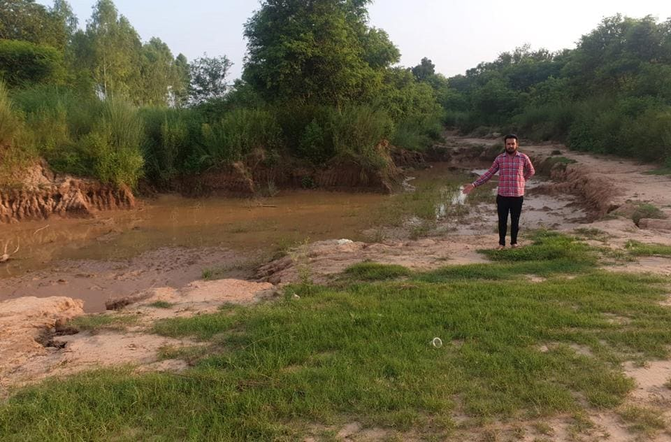 A spot where  sand has been mined illegaly at Majat village in Mohali.