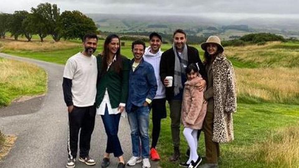 Sonam Kapoor with husband Anand Ahuja and friends inScotland.