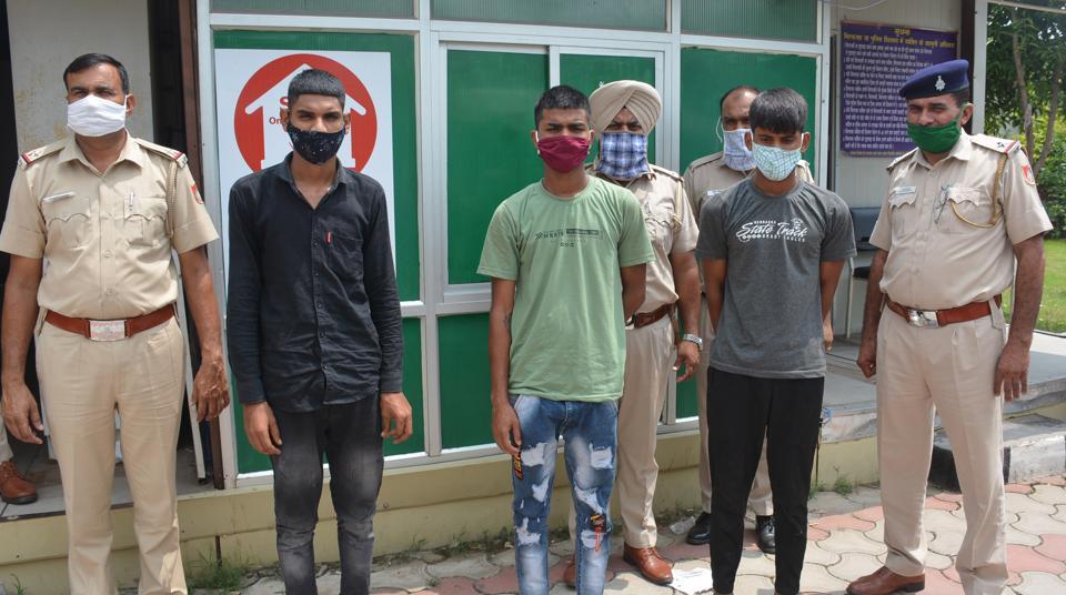Chandigarh Police arrested three men for damaging an ATM machine at Manimajra's Subhash Nagar.