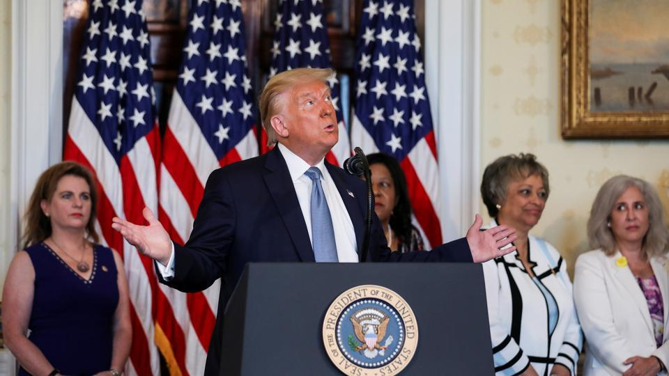 US President Donald Trump speaks at the White House in Washington. It was not clear what effect, if any, the report might have on the current US presidential campaign in which Trump faces Democrat Joe Biden in the November 3 US election.