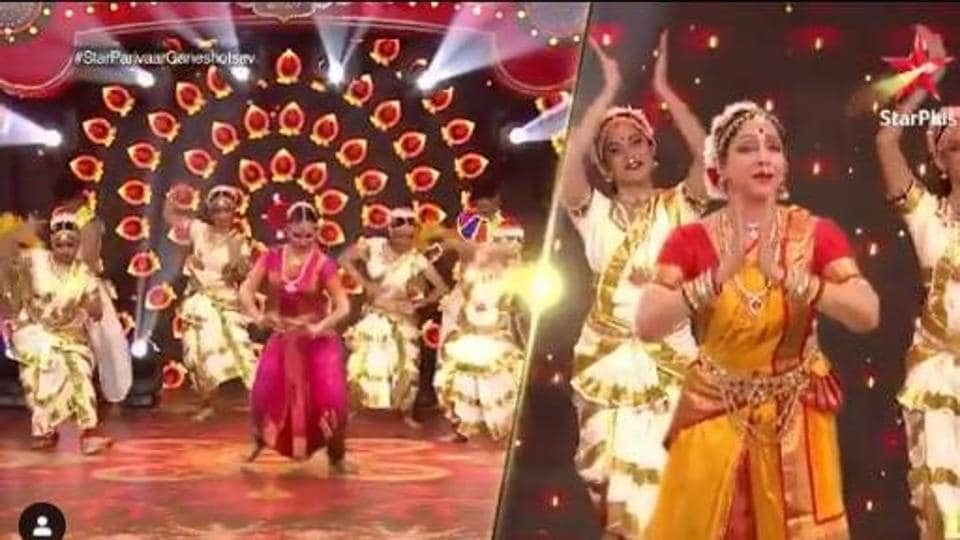 Ganesh Chaturthi 2020: Esha Deol and Hema Malini during the dance sequence.