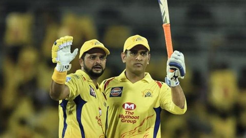 In this April 10, 2018, file photo shows, Chennai Super Kings (CSK) skipper MS Dhoni and Suresh Raina during the IPL 2018 cricket match against Kolkata Knight Riders (KKR) at MAC Stadium in Chennai.
