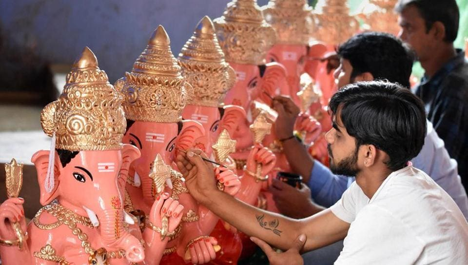 Artisans give final touch to idols of Lord Ganesha on the eve of Ganesh Chaturthi festival, in Chikmagalur, Friday, Aug. 21, 2020.  (Representational)