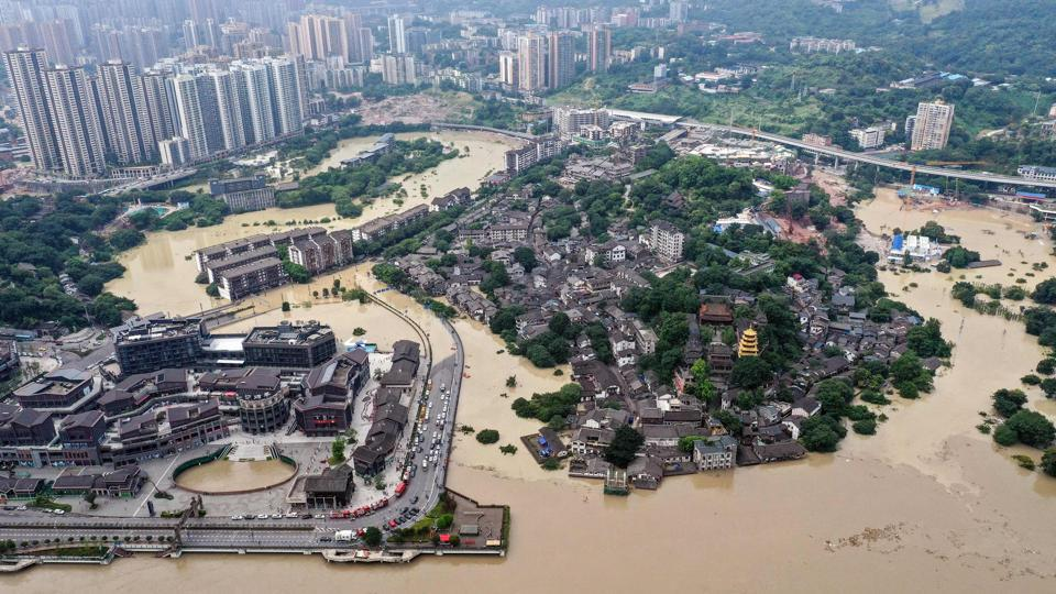 A flooded area in China's southwestern Chongqing on August 19. Continuous and heavy rains since August 15 have led to floods that have damaged farmland and transport infrastructure in southern China, AFP reported quoting the official Xinhua News Agency. (AFP)