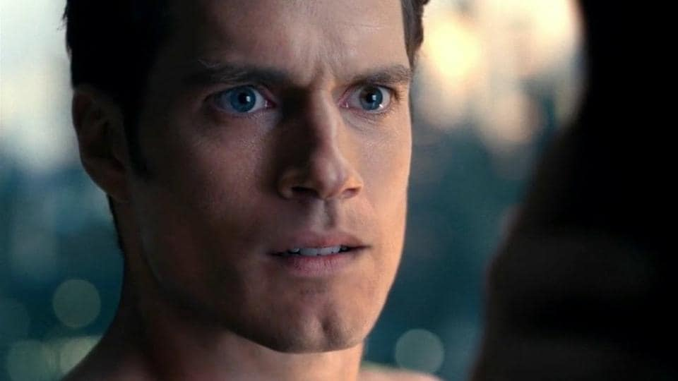 Henry Cavill in a still from Justice League.
