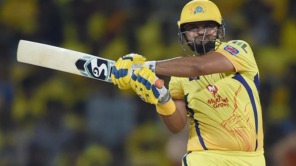 Suresh Raina plays a shot during the Indian Premier League 2019 (IPL T20) cricket match between Chennai Super Kings (CSK) and Sunrisers Hyderabad (SH) at MAC Stadium in Chennai.