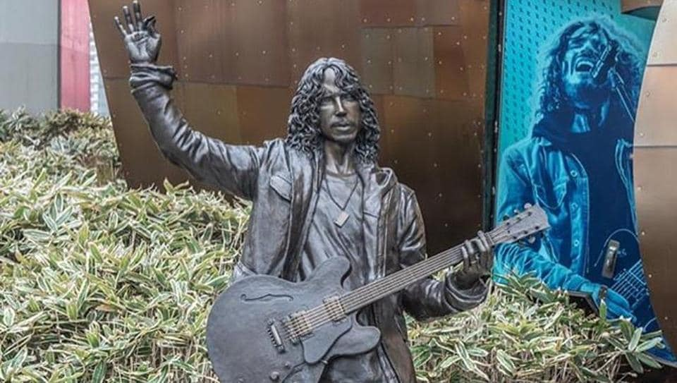 The statue at the Museum of Pop Culture was commissioned by his wife, Vicky Cornell.