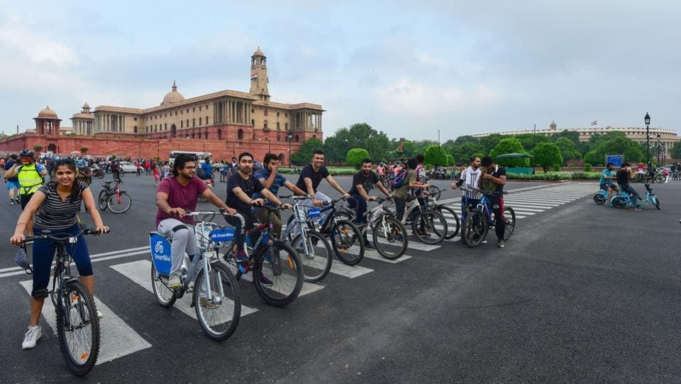 Cyclists at Raisina Hills in New Delhi on August 23. India is the third country in the world, after the US and Brazil, to report more than three million Covid-19 cases. The third million was logged in a little over two weeks. (Kamal Kishore / PTI)