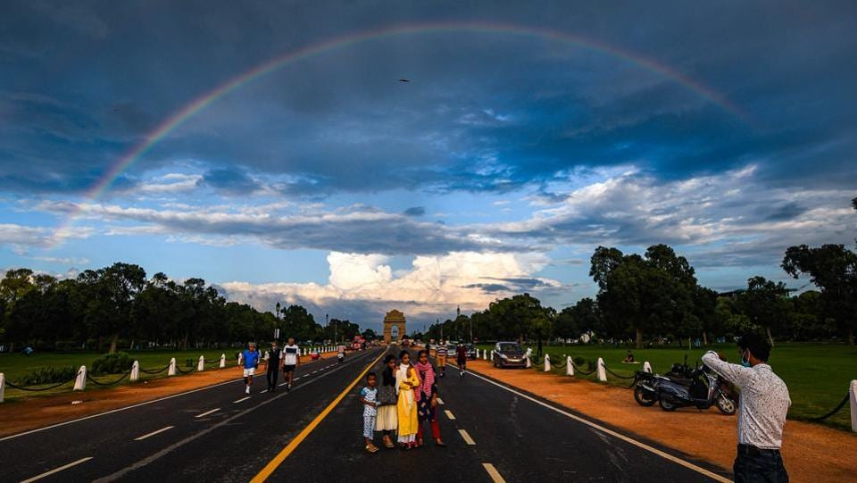 A rainbow over India Gate in New Delhi on August 21. A streak of continuous rain spells in August has brought Delhi's Air Quality Index (AQI) to below 60 which falls under the 'satisfactory' category according to Central Pollution Control Board (CPCB)'s scale. (Amal KS / HT Photo)
