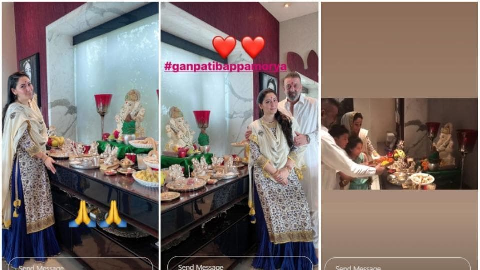 Maanayata Dutt shared clip from their home Ganapati Puja.