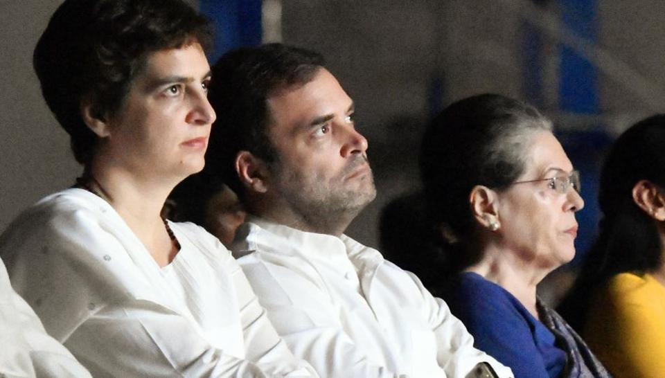 AICC general secretary Priyanka Gandhi Vadra, Congress leader Rahul Gandhi and UPA Chairperson Sonia Gandhi in New Delhi on Saturday. (ANI Photo)