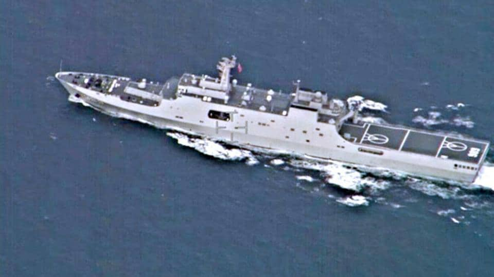 Chinese amphibious warship Xian 32 tracked and clicked by Indian navy in 2019.