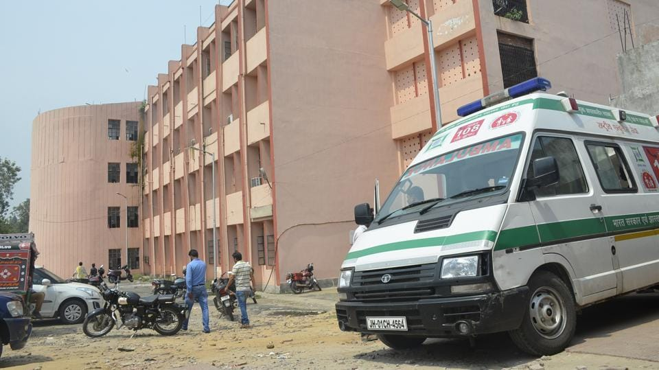 An ambulance at PMCH campus in Dhanbad.