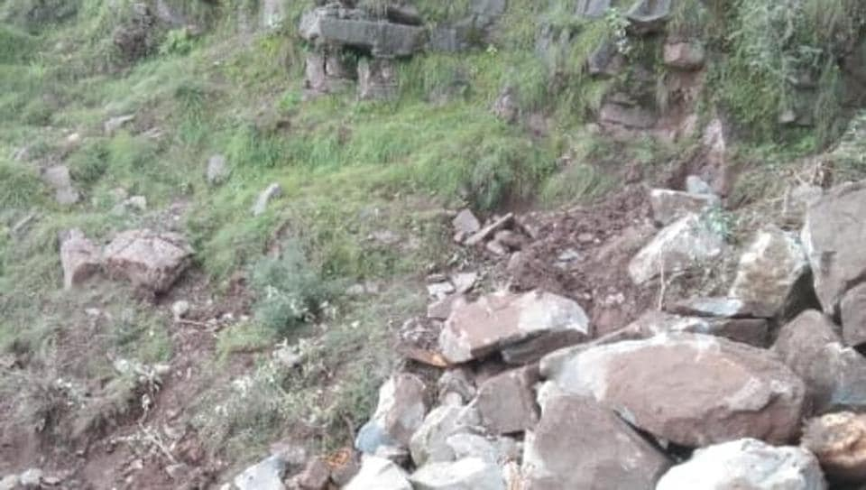 The scene of the landslide in Reasi in which three nomads were killed.