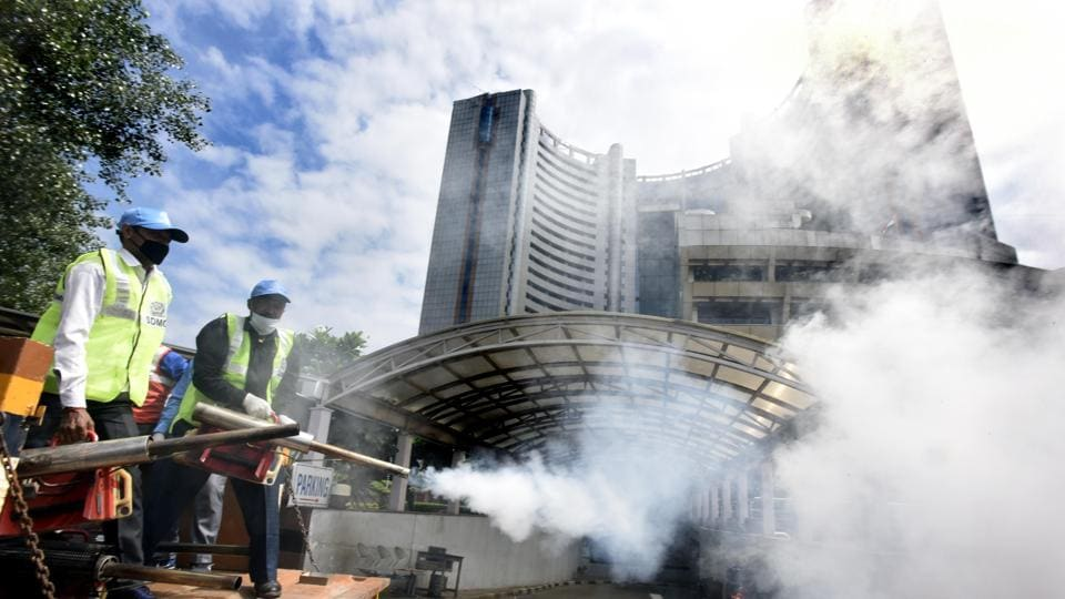 SDMC workers fumigating an area during the launch of a campaign against Dengue, Malaria and Chickengunia by Delhi BJP president Adesh Gupta and SDMC Mayor Anamika Mithilesh Singh, at A- Block, Civic Center in New Delhi.