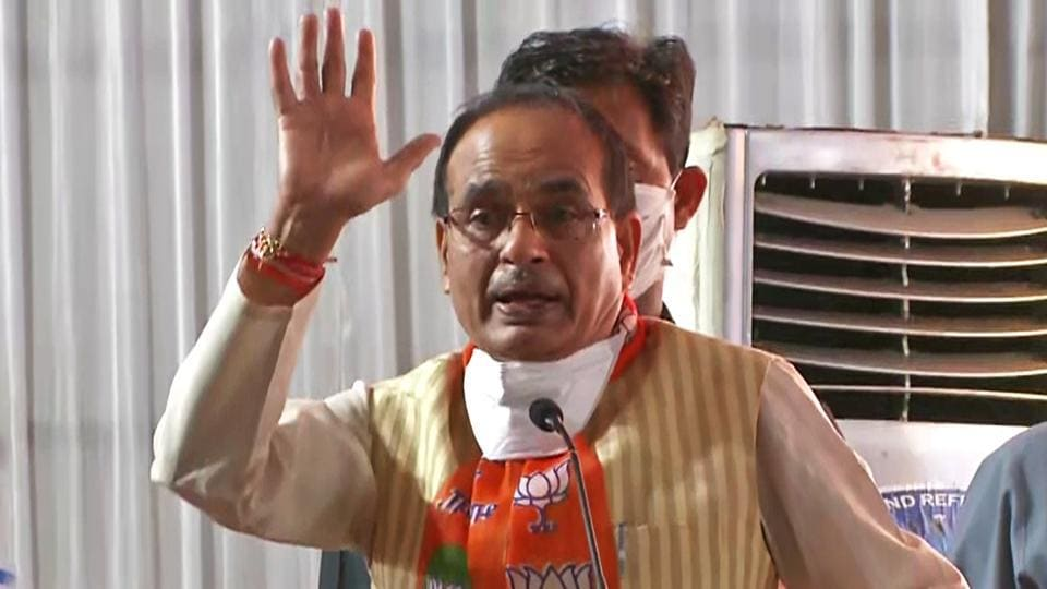 Madhya Pradesh Chief Minister Shivraj Singh Chouhan addresses during a BJP event in Gwalior on Sunday. (ANI Photo)
