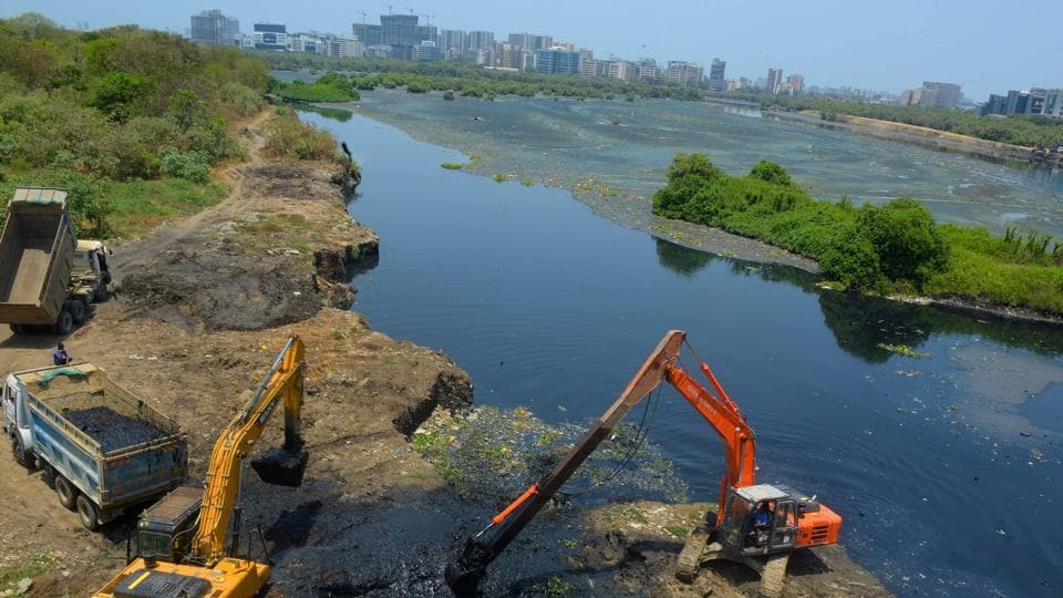 Mithi river cleaning drive in Mumbaion April 29, 2020.