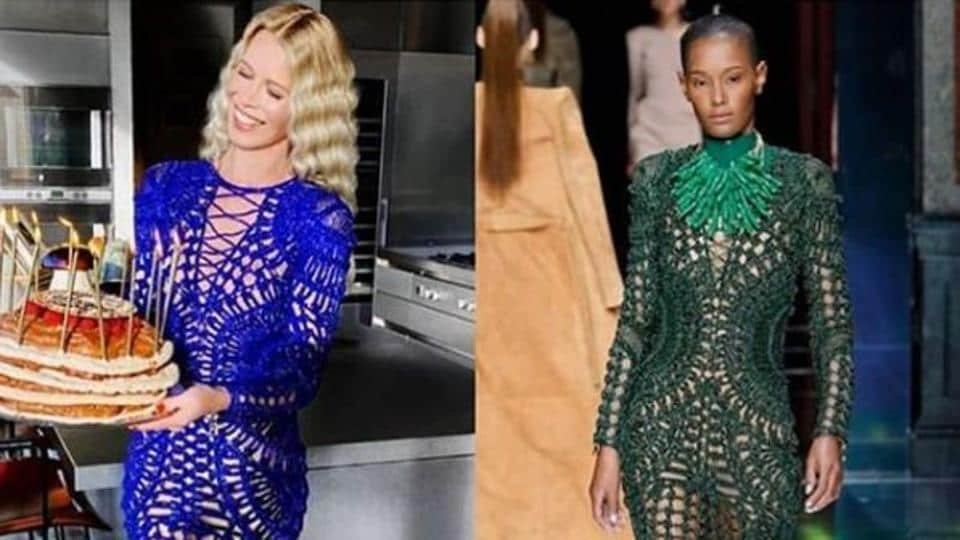 The blue beaded dress the supermodel is wearing is identical to the one she wore for Balmain's spring 2016 campaign.