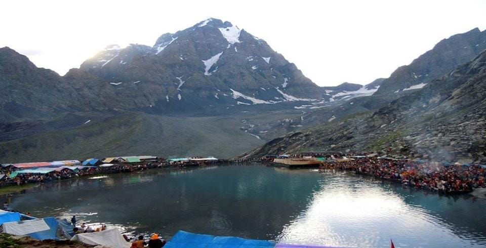 Manimahesh Lake with Mount Kailash in the backdrop. Manimahesh Yatra, which began on August 12, was held symbolically this year due to the Covid-19 outbreak. Pilgrims trek to the oval-shaped lake at a height of 13,500ft to catch a glimpse of Mount Kailash, the abode of Lord Shiva, and offer prayers.