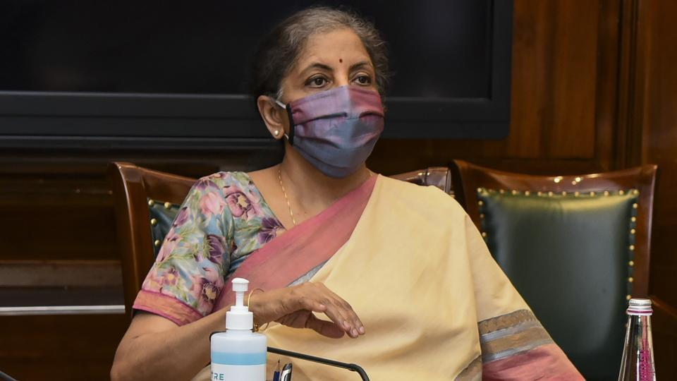 Union finance minister Nirmala Sitharaman chairs the 41st GST Council meeting via video conferencing, in New Delhi on Thursday.