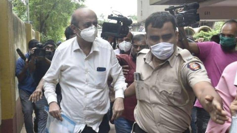 Rhea Chakraborty father Indrajeet Chakraborty taken to ED office from Rhea's residence at Santacruz in Mumbai.