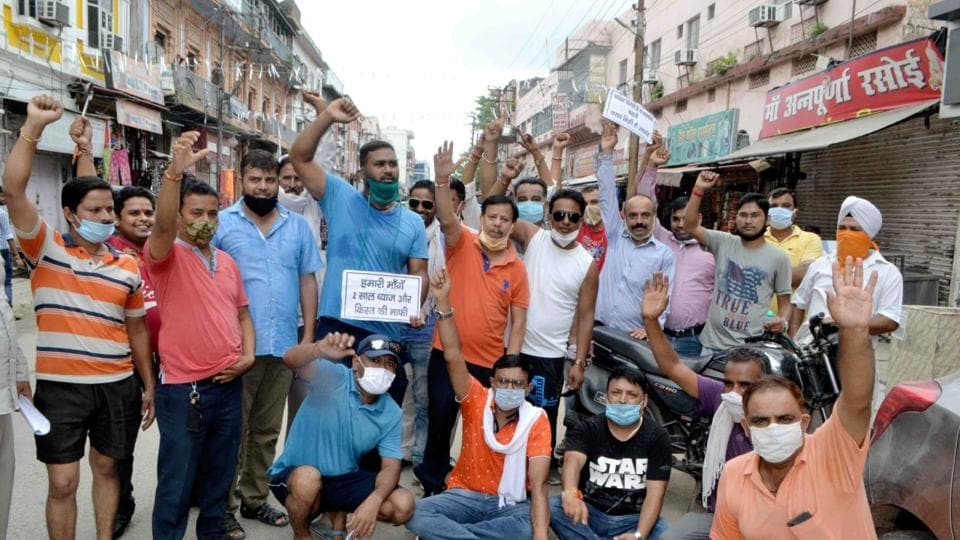 Tour, travel, hotel operators protesting for relief package in Haridwar.
