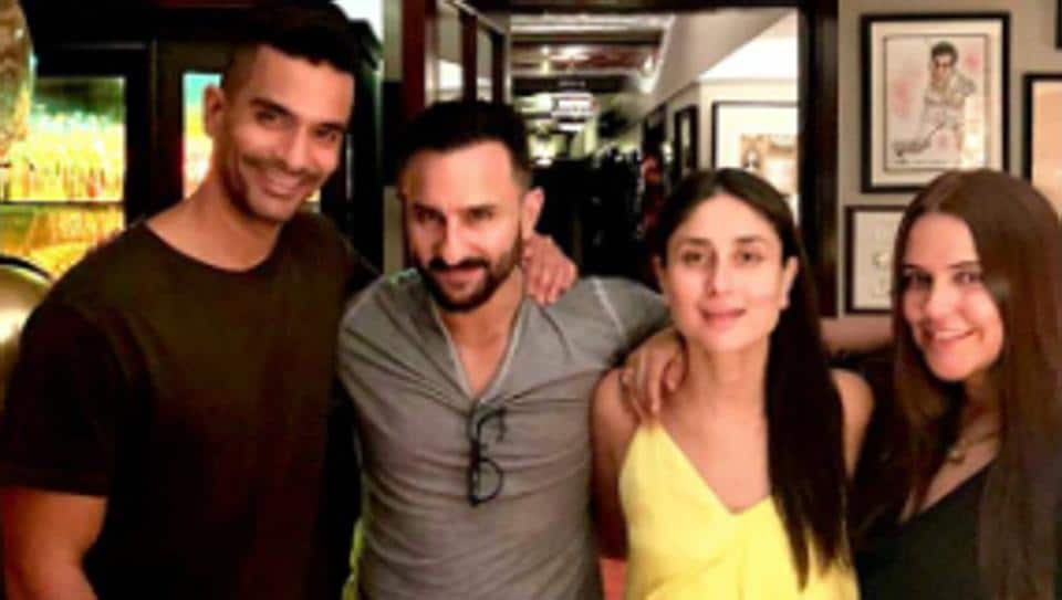 Kareena Kapoor with birthday girl Neha Dhupia, Angad Bedi and Saif Ali Khan.