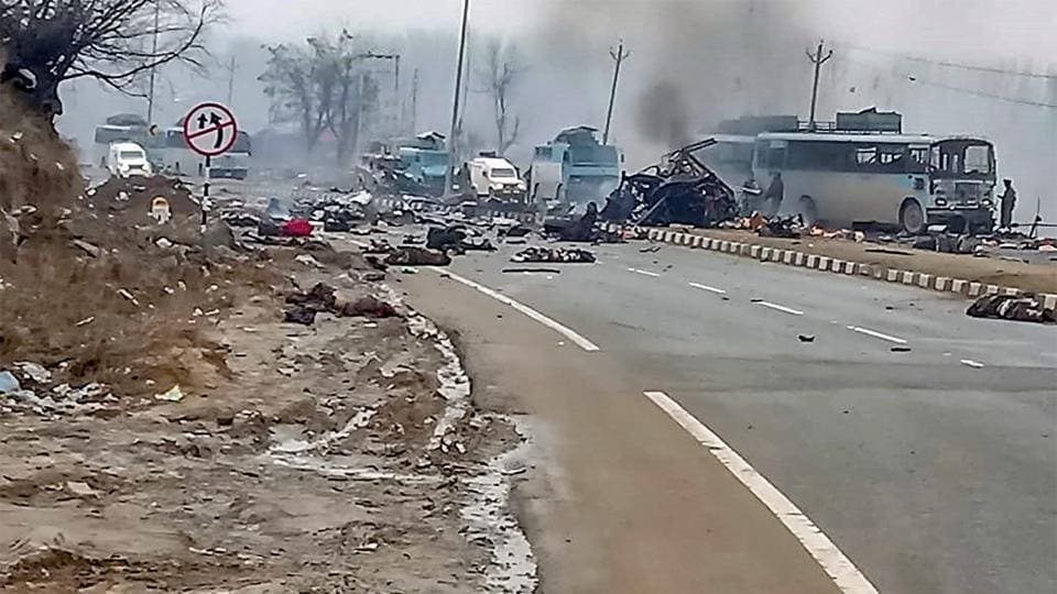 A scene of the spot after terrorists attacked a CRPF convoy in Goripora area of Awantipora town in Pulwama district of Kashmir on Feb 14, 2019