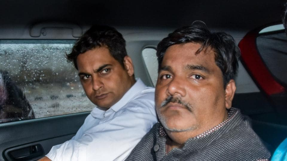 Suspended AAP councillor Tahir Hussain (right) is accused of being involved in the Delhi riots that took place in February.